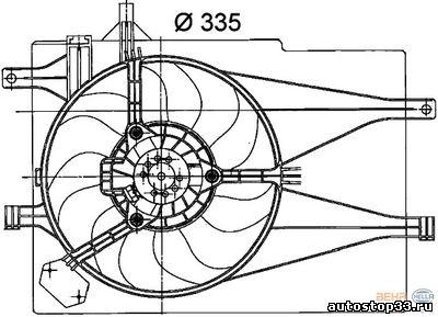 Диффузор + вентилятор охлаждения Fiat Albea 46826688