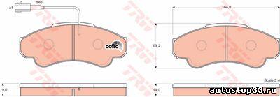 Колодки тормозные передние Fiat Ducato R16 77362216, 77364859