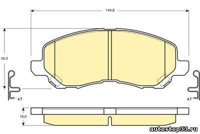 Колодки тормозные передние Мицубиси Лансер 9 MN102618, MZ690348