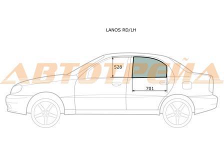 Стекло двери задней левой Chevrolet Lanos 96304142