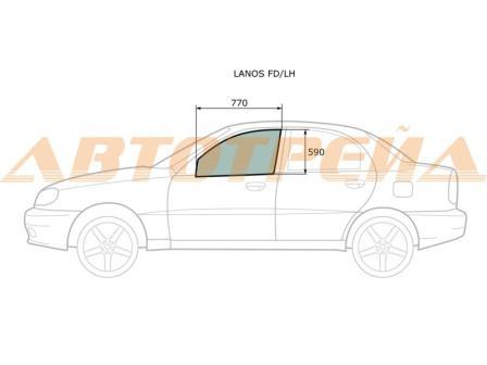 Стекло двери передней левой Chevrolet Lanos 96304052