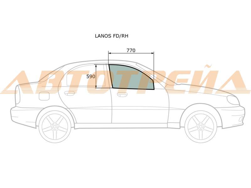 Стекло двери передней правой Chevrolet Lanos 96304054