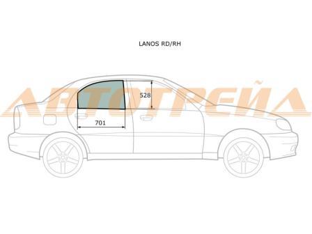 Стекло двери задней правой Chevrolet Lanos 96304144